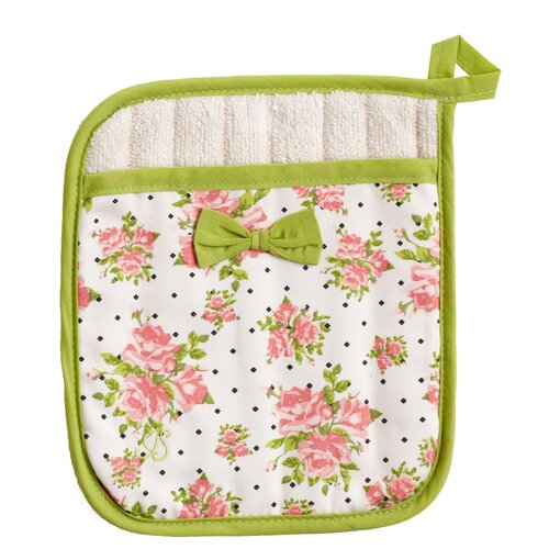 Coral Spring Rose Bunch Square Pot Mitt with Bow