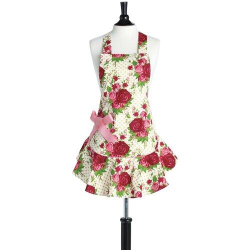 Spring Floral Red Bib Josephine Apron