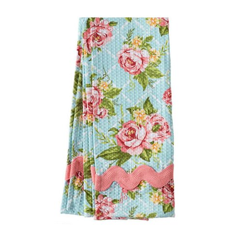 Jessie Steele Cottage Kitchen Rose Waffle Ric Rac Towel