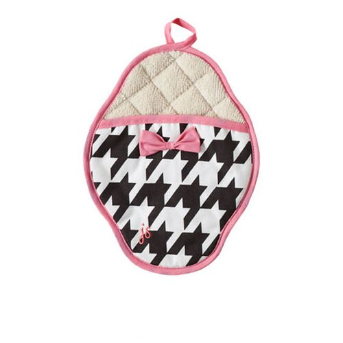 Giant Houndstooth Bow Scalloped Pot Mitt