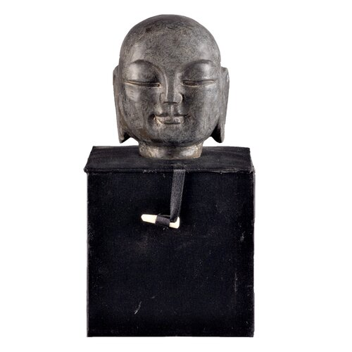 Antique Revival Asian Hand-Carved Monk Head Bust
