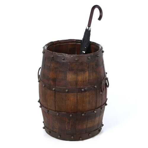Antique Revival Vintage Studded Barrel with Iron Handles