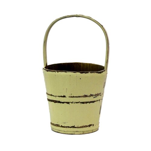 Antique Revival Vintage Water Bucket with Bamboo Handle