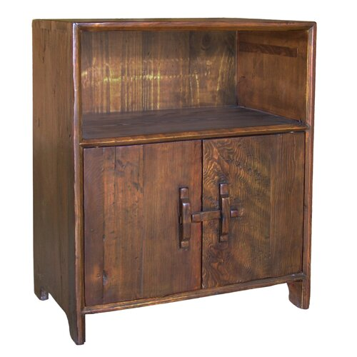 Antique Revival Vintage Dongbei-Style 2 Door Cabinet with Shelf