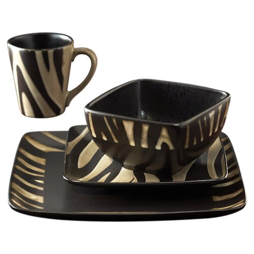 American atelier safari zebra 16 piece dinnerware set for Zebra kitchen set