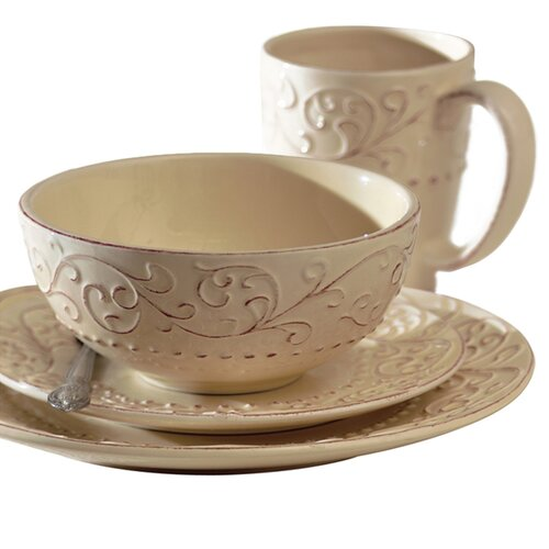 Bianca Leaf Round 16 Piece Dinnerware Set