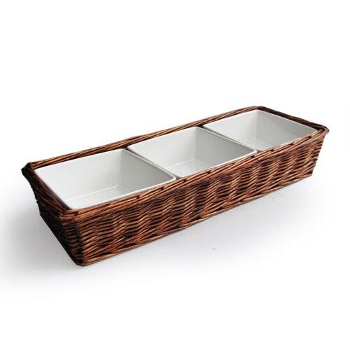 Fleur de lis 3 section rectangular divided serving dish wayfair - Fleur de lis serving tray ...