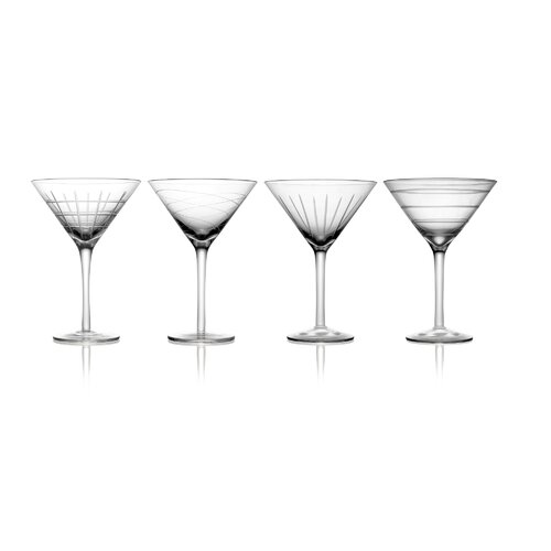 Fifth Avenue Crystal Medallion 4 Piece Martini Glass Set