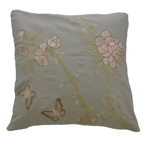 AV Home Butterfly and Flowers Embroidered Linen Pillow