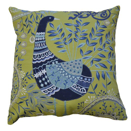 AV Home Boho Peacock Embroidered Cotton Pillow
