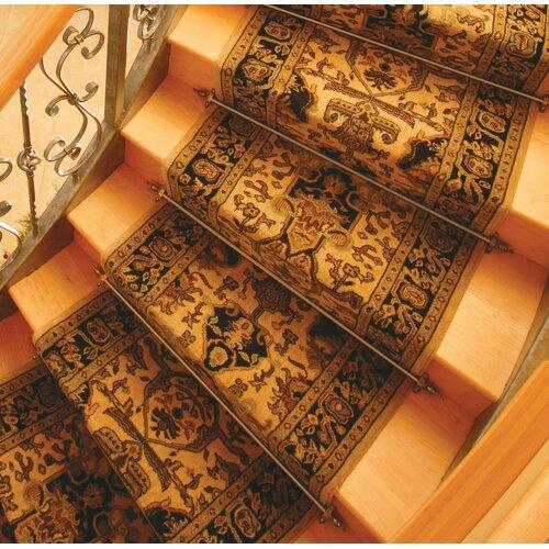 Zoroufy Heritage Solid Stair Rod Set Regular Brackets Crown Finial
