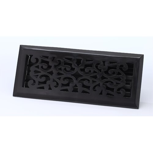 "Zoroufy 2.25"" x 12"" Scroll Floor Register in Antique Black"