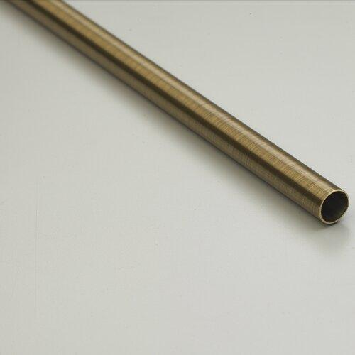 "Zoroufy Heritage 84"" Smooth Tubular Stair Rod Set Extended Brackets Round Finial"