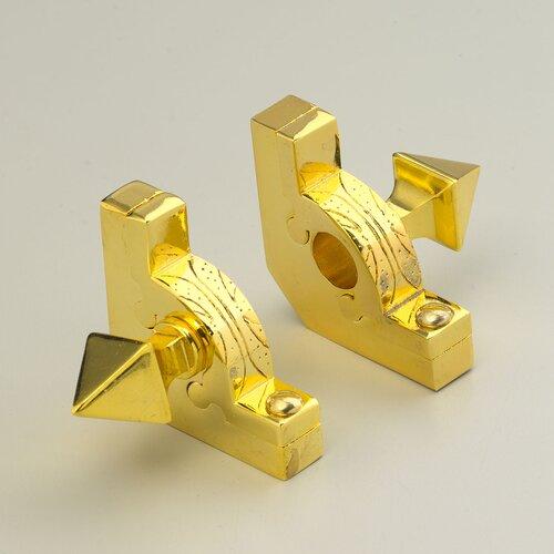 "Zoroufy Sovereign 28.5"" Tubular Stair Rod Set with Decorative Brackets Pyramid Finials"