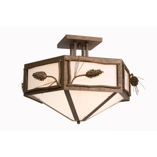 Steel Partners Ponderosa Pine Hexagon Drop Semi Flush Mount