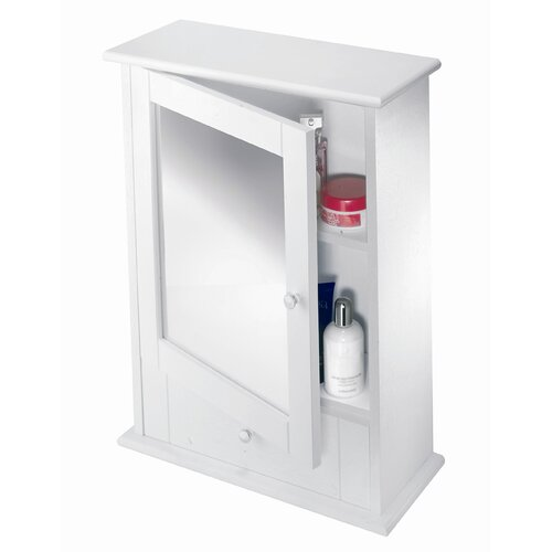 "Croydex Maine White Wood 17.72"" x 23.62"" Surface Mount Medicine Cabinet"