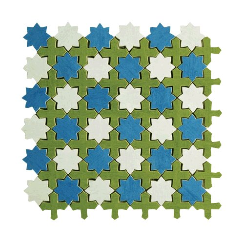Aquarelle Random Sized Ceramic Wall Tile in Star Blue Mosaic