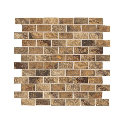 "Marazzi Jade 2"" x 1"" Decorative Brick Mosaic in Chestnut"