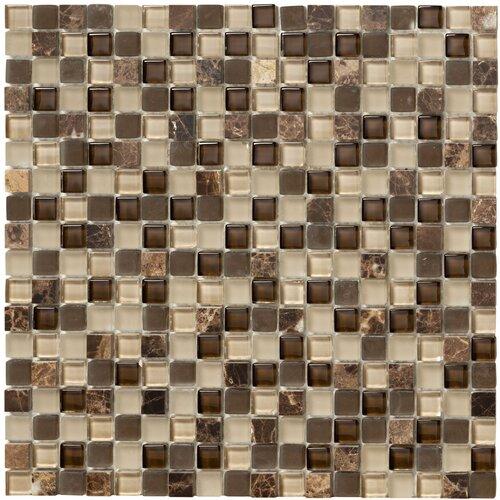 Crystal Stone II Glass Square Mosaic in Espresso