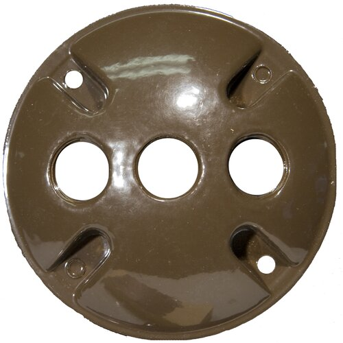"Morris Products 4"" Round Weatherproof Covers in Bronze with 0.5"" Three Hole"