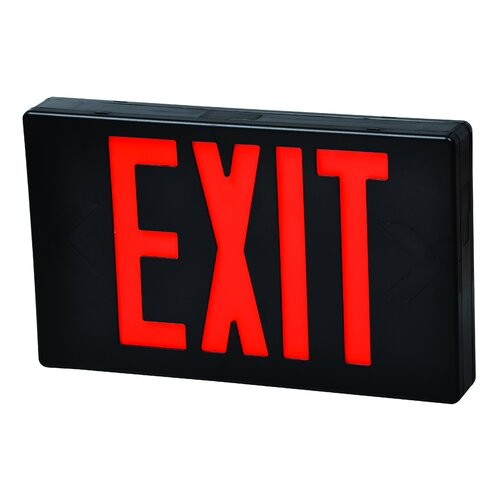 Morris Products LED Exit Sign in Red LED and Black Housing with Battery Backup