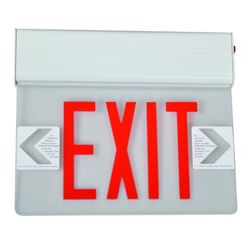 Morris Products Surface Mount Edge Lit LED Exit Sign with Red on Clear Panel and White Housing