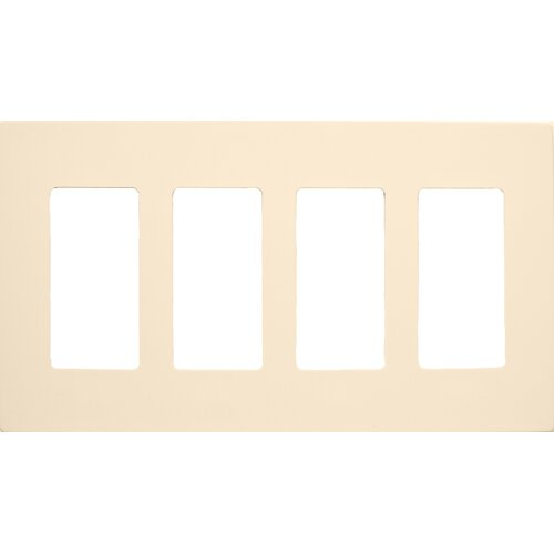 Morris Products 4 Gang Decorator Screwless Snap in Wall Plates in Almond