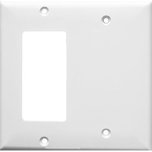 Morris Products 2 Gang 1 GFCI 1 Blank Lexan Wall Plates in White