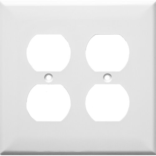 Morris Products 2 Gang Midsize Receptacle Lexan Wall Plates in White