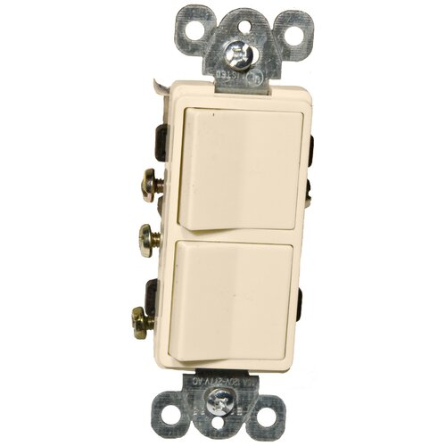 Morris Products 15A-120/277V Commercial Grade Decorator Double Rocker Switch in Almond
