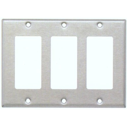 Morris Products Three Gang Decorator and GFCI Metal Wall Plates in Stainless