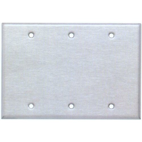 Morris Products Three Gang and Blank Metal Wall Plates in Stainless