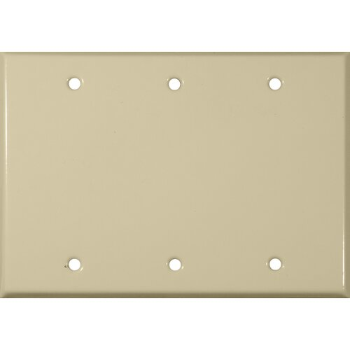 Morris Products Three Gang and Blank Metal Wall Plates in Ivory
