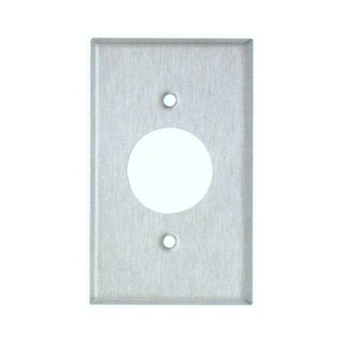 "Morris Products 1.41"" Gang Single Receptacle Metal Wall Plates in Stainless"