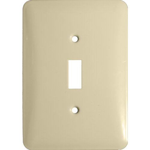 Morris Products Midsize 1 Gang Stainless Steel Metal Wall Plates Toggle Switch in Ivory