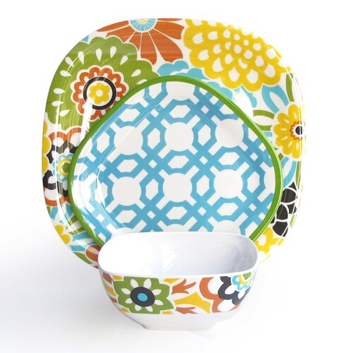Button Blooms Confetti 12 Piece Dinnerware Set