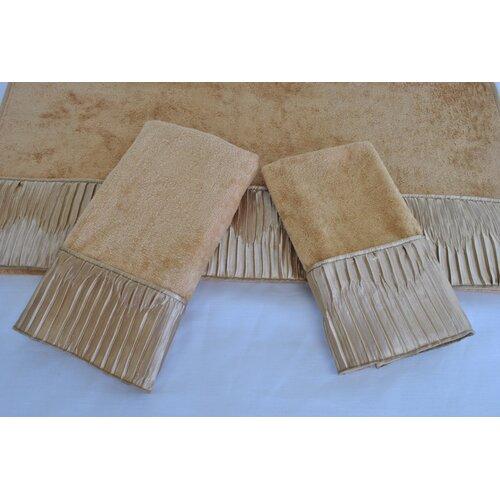 Sherry Kline Vertical Pleats Ecru 3-Piece Decorative Towel Set