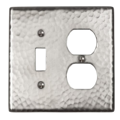 The Copper Factory Hammered Copper Single Switch and Duplex Receptacle Combination Plate