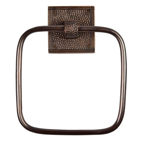 The Copper Factory Wall Mounted Hammered Copper Towel Ring with Backplate