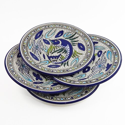 Le Souk Ceramique Aqua Fish Design Dinner Plates (Set of 4)