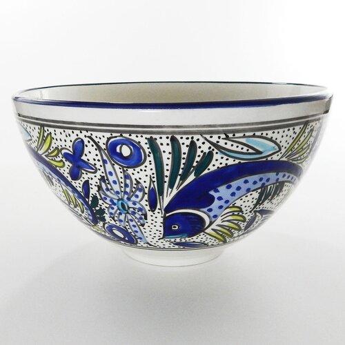 "Le Souk Ceramique Aqua Fish Design 12"" Serving Bowl"