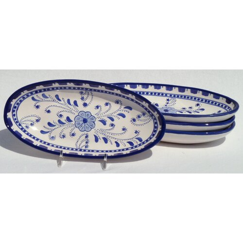 "Le Souk Ceramique Azoura Design 4.5"" Oval Platter (Set of 4)"