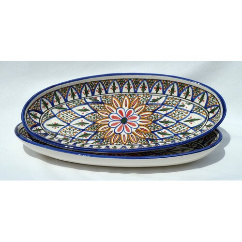 "Le Souk Ceramique Tabarka Design 16"" Oval Platter (Set of 2)"