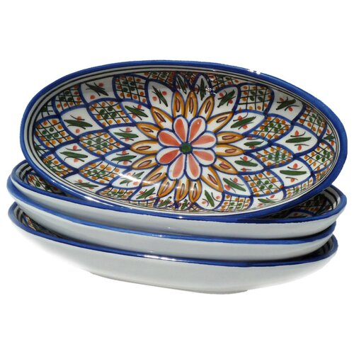 "Le Souk Ceramique Tabarka Design 4.5"" Oval Platter (Set of 4)"