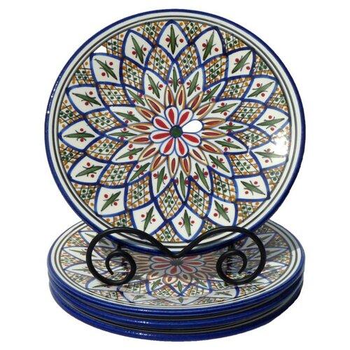 "Le Souk Ceramique Tabarka Design 11"" Dinner Plates"