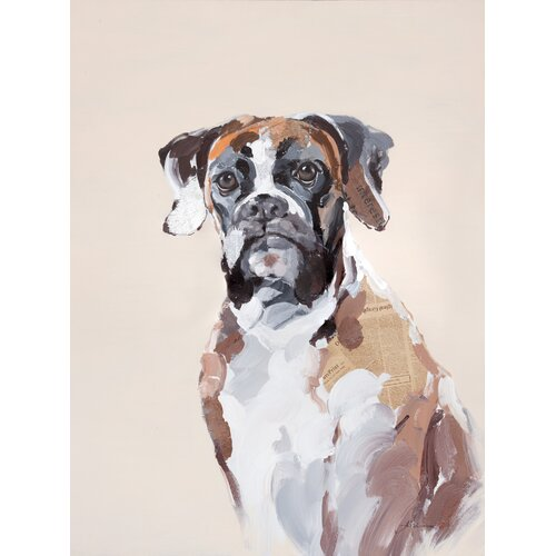 Moe's Home Collection Brown Dog Painting Print on Canvas