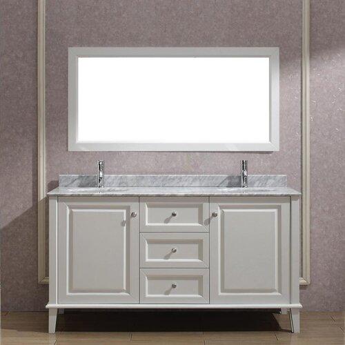 Simple  Double Bathroom Vanity With Optional Mirror  Double Sink Vanities At