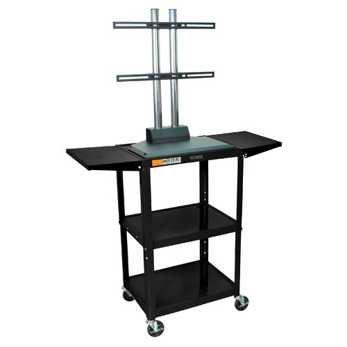 Luxor Adjustable Height Flat Panel Cart with Drop Leaf Shelves