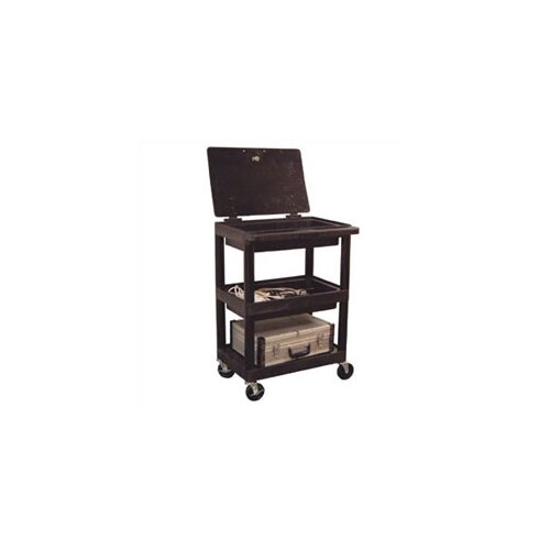 Luxor 3 Shelf Utility Cart with Un-Hinged Lid