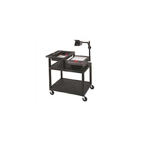 Luxor Stand-Up AV Overhead Projector Cart with Top Shelf Storage Tray